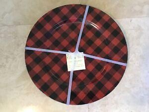 CYNTHIA ROWLEY 4  CHARGER PLATES  13  INCH BUFFALO PLAID RED BLACK NIP