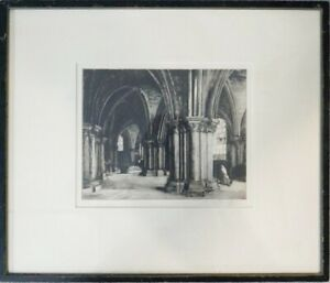 "19th Century Print Etching Framed /Glazed Bruges Cathedral Signed & Numbered 20"""