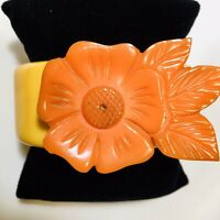 Unique, Orange & Creamed Corn Carved Flower Chunky Bakelite Cuff Bracelet