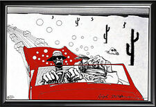 Framed Ralph Steadman Fear and Loathing Wall Decor in Premium Black Wood Frame
