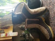Vintage Women Winter Ankle Boots Snowland Leather Upper Sherpa Lined Sz , 8 1/2