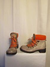 boots/bottines CANDICE COOPER  cuir gris tirant sur le mastic et laine orange 36