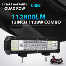 12INCH 1128W QUAD ROW LED LIGHT BAR SPOT FLOOD OFFROAD 4WD JEEP TRUCK SUV 14/15