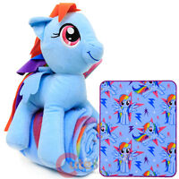 My Little Pony Rainbow Dash Fleece Throw Blanket with Plush Doll Pillow 2pc  Set