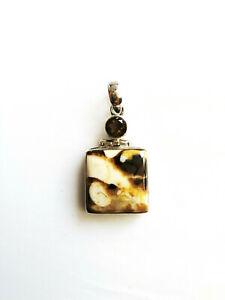 Sterling silver Jasper & Smoky Quartz gemstone pendant