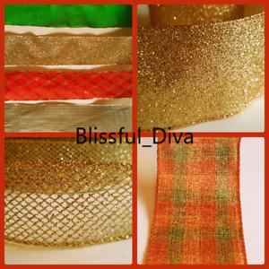 WIRE Edged Christmas Ribbon Glittery Sparkly Silver Gold Tartan Xmas bows Tying