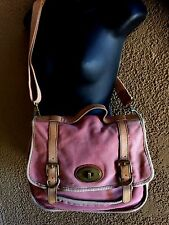 Fossil Canvas Leather Messenger Bag Cross Body Distressed Dusty Rose