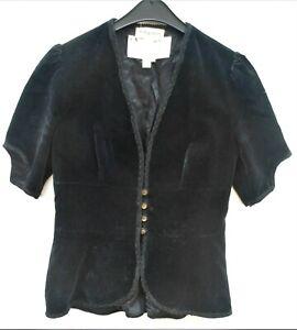 Vintage Annie Gough for Gemini 70s jacket, black velvet, UK10 -12, short sleeve