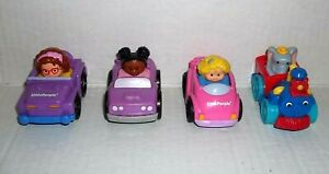 4 Fisher Price Little People Wheelies Racers Race Track replacement cars Lot 1