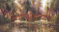 Willow Bridge Art Fronckowiak Landscape River Bridge Print Poster 29x17