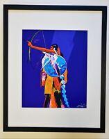 JOHN NIETO Hand-SIGNED NATIVE AMERICAN KIOWA ARCHER SERIGRAPH Silkscreen FRAMED