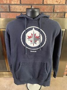 Reebok Winnipeg Jets NHL Hockey Hooded Hoodie Sweatshirt Mens Size XL Black