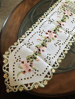 """Lovely Pink Lily Table Runner Dresser Scarf 68""""x 13"""" Embroidered Cutwork Design"""