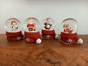 Set of 4 Christmas Festive Snow Globes Water Ball - Santa Snowman Teddy Bear