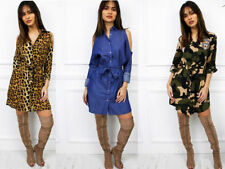 Animal Print Polyester Shirt Dresses for Women