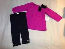 NEW JUICY COUTURE BABY 12-18 MONTHS OUTFIT PINK BLACK LEGGINGS BOW SO CUTE!