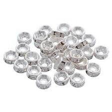 150 PCs Silver Plated Rhinestone Rondelle Spacers Beads Findings 5mm