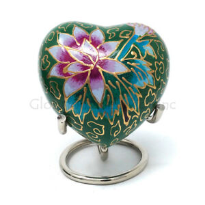 Green Floral Heart Keepsake Mini Container for Cremation Ashes