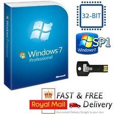 Windows 7 Professional 32-bit SP1 Full Version & License COA Product Key on USB