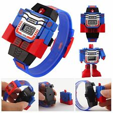 Kids Digital Time Date Children Boys PU Watch Transform Robot Cartoon Wristwatch