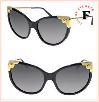 DOLCE & GABBANA LUCIA DG 4337 Black Gold Cat Eye Sunglasses DG4337S Authentic
