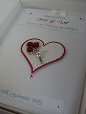 Personalised 1st Wedding Anniversary Card, Swarovski crystals, boxed