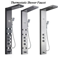 Thermostatic Shower Panel Tower Massage Jets Hand Sprayer Tub Spout Combo Faucet