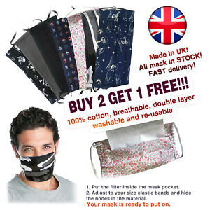 Face mask for man, boy, washable, re-usable, filter, 100% cotton. HANDMADE in UK
