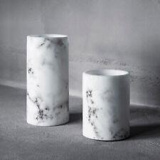 Set of 2 Flameless Real Wax Battery LED Pillar Candles Marble Effect Lights4fun