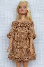 Handknitted  light brown dress for Barbie, doll fashion dress, Barbie clothing