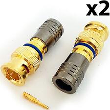 Conectores De Compresión Bnc 2x RG6 Cable Coaxial crimp MacHo Enchufes-instalación Cctv