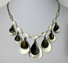 "Alfani Necklace 18"" to 21"", Silver & Gun Metal Tone Double Teardrop Dangles"