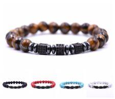 Tiger Eye Turquoise Stone Bracelets Gift Men Women Zircon Square Beads Bracelets