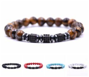 Men Women Zircon Square Beads Bracelets Tiger Eye Turquoise Stone Bracelets Gift
