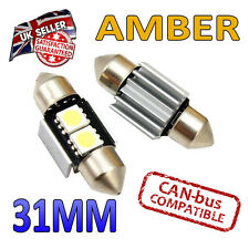 2 x 31mm Festoon Amber Canbus LED Number Plate Interior 2 SMD Bulbs 269 Bright