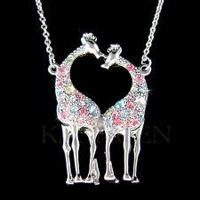 w Swarovski Crystal Rainbow Giraffe Lover Safari Animal Girls Charm Necklace New