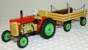 Vintage Wind Up Toy Tractor and Wagon Shift Knob ~ Pragoexport - Czechoslovakia