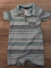 Tea Boys Romper Outfit Size 0-3 Months One Piece Outfit Blue Green