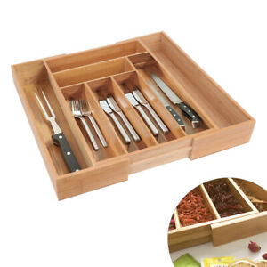 Cutlery Tray Organiser Drawer Storage Wooden Bamboo Expandable Extending