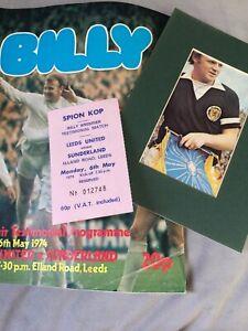Billy Bremner (Leeds & Scotland) Testimonial Programme Ticket & Signed Magazine