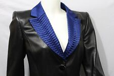 Armani Collezioni Women Black Leather Jacket Short Coat Blue Lapel + Lining M 44