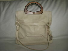 Relic by Fossil Fold Over Beige Faux Leather Hobo Purse Bag