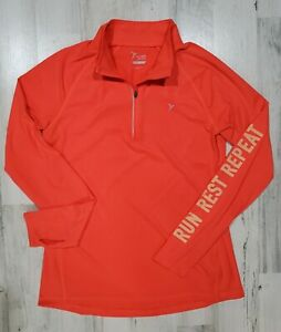Old Navy Active Go Dry Orange Long Sleeve Pullover Top With 1/4 Zipper Sz Med M