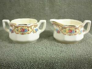 VINTAGE CREAM and SUGAR PORCELAIN POTTERY USA FLORAL PATTERN PINK BLUE YELLOW