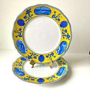 "Lynn Chase Designs Costa Azzurra Dinner Plates 2pcs 10.75"" Blue Yellow Shells"