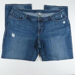 Old Navy Womens Jeans Plus Size 22 Straight Leg Distress 100% Cotton Blue Denim