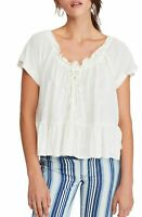 Free People Women's Blouse White Ivory Size Medium M Button Front $58 #790