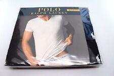 3 Pack Mens Polo Ralph Lauren Slim Fit V-Neck Cotton T-Shirts Blue Navy Medium