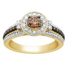 1 Ct Round Cut Mocha Diamond 14k Yellow Gold Solitaire Halo Engagement Ring