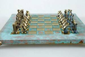 Manopoulos Cycladic Art Large Chess Set - Bronze Material - Oxidized Board